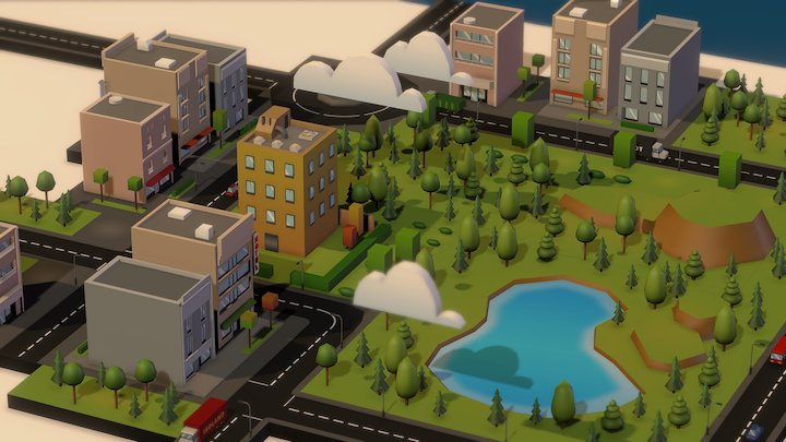 Isoland - isometric town 3D Model