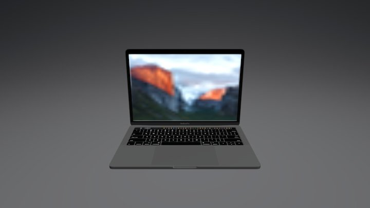 Space Grey 13 Inch Mac Book Pro With Touchbar 3D Model