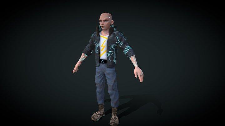 lowpoly cyberpunk boy 3D Model
