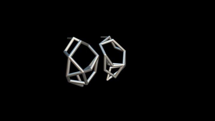 Structure 1 Post Earrings 3D Model