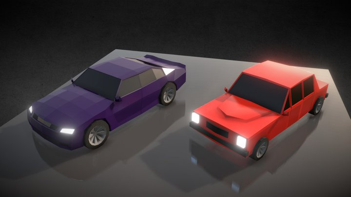 Two Low Poly Cars 3D Model