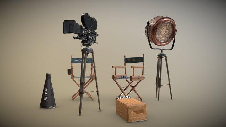 Vintage Movie Camera & Set Scene 3D Model