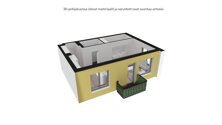 Mustalahdenkatu, Tampere, A6, 1h+kt+alk, 37,0m2 3D Model
