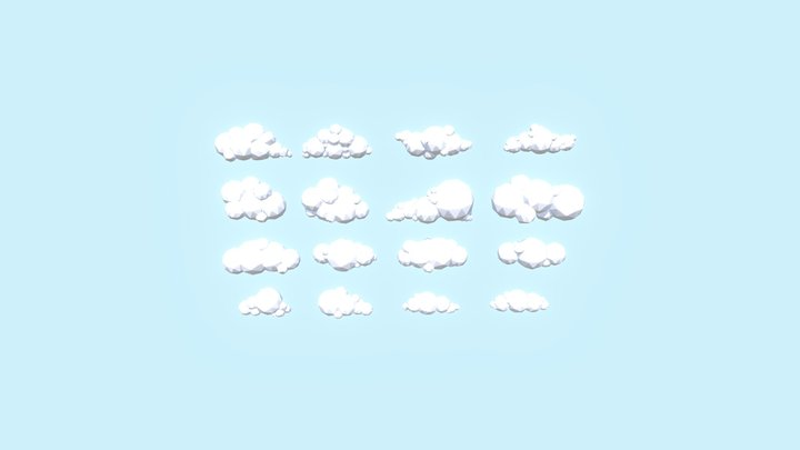 LowPoly Clouds 3D Model