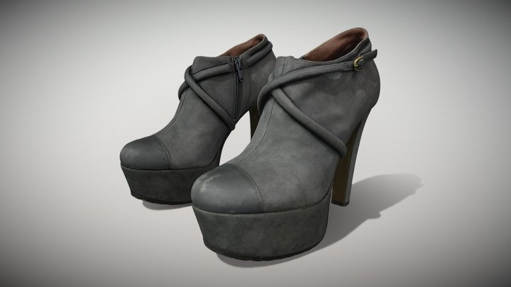 Female Leather Short Boots - Photoscanned PBR 3D Model