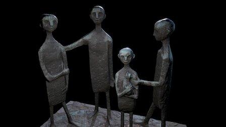 Weird sculptures: Kids with cat 3D Model