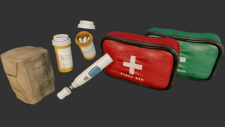 First Aid Collection PBR 3D Model