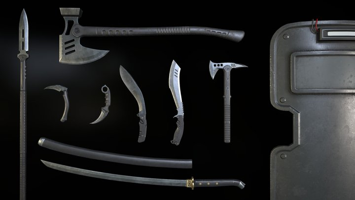 Tactical melee Weapon collection 3D Model
