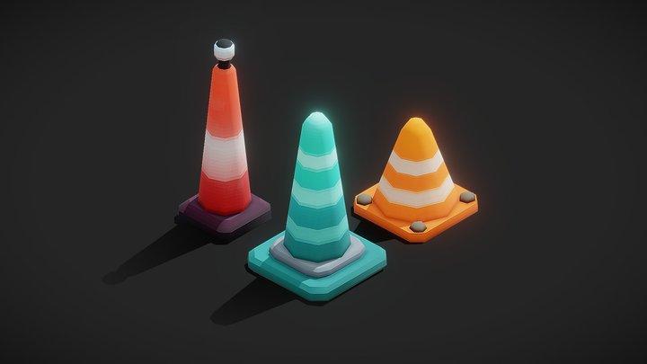 Stylized road cones 3D Model