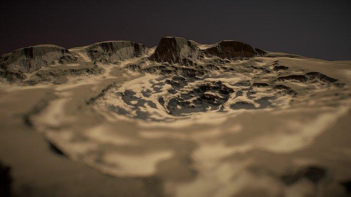 FREE Sand Crater Terrain 3D Model
