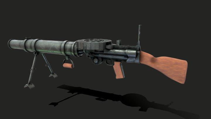 Lewis Gun British WW1 heavy machine gun 3D Model