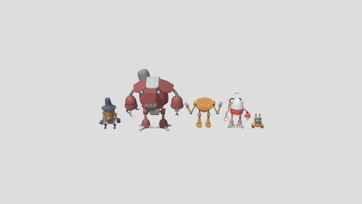 XYZ HW - Colored draft Robots 3D Model
