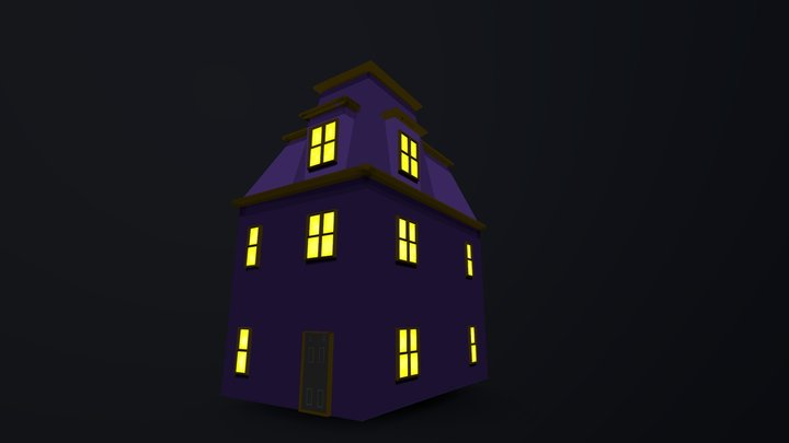 Spooky Hand Painted House 3D Model