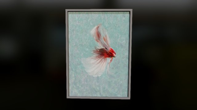 Red Cardinal Flying Painting 3D Model