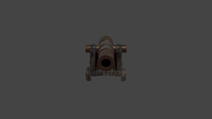 Textured Cannon 3D Model