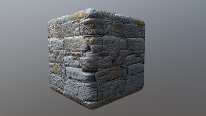 Tiled PBR material - Stone wall 3D Model