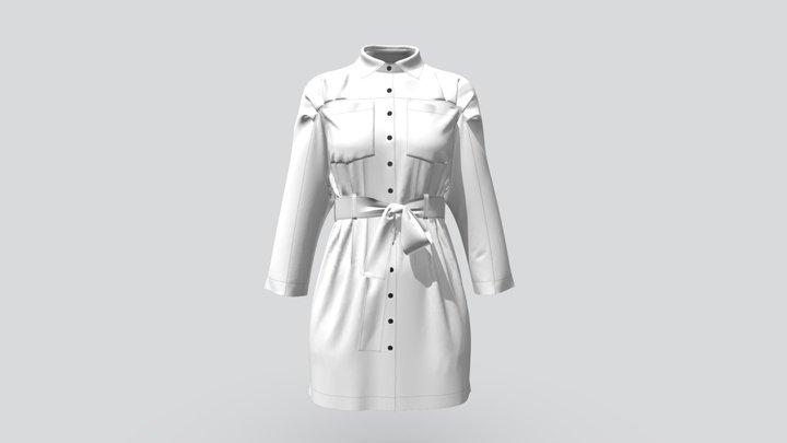 Denim White Dress for Woman 3D Model