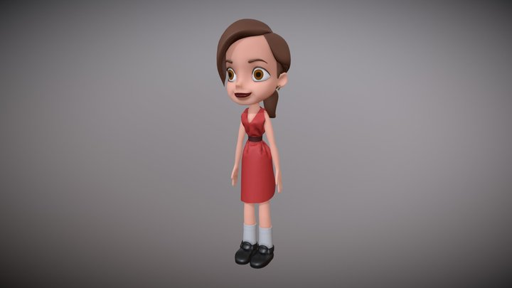 Cartoon Girl (For commercial use) 3D Model
