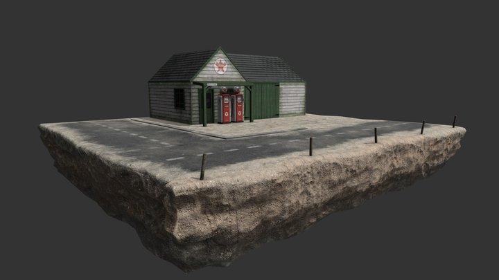 50's gas Station 3D Model