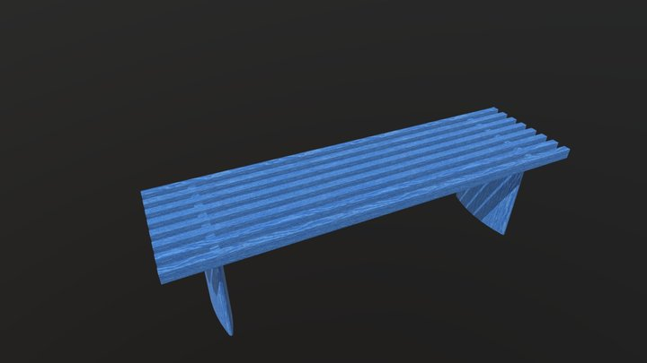 Mid Century Style Timber Bench 1300mm 3D Model