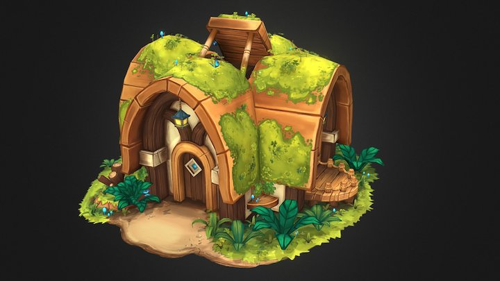 Whimsical Overgrown Cottage 3D Model