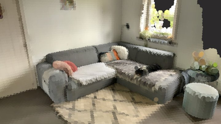 Couch with sleeping dog 3D Model