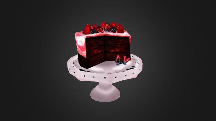 Red Velvet Berry Cake 3D Model