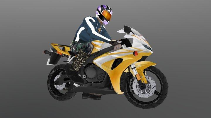 Biker on the sport-bike 3D Model
