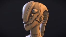 Alien Sci-fi Head WIP 3D Model