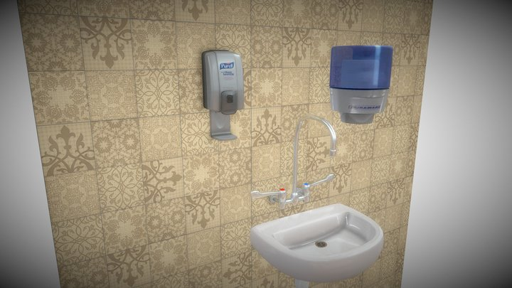 purell hand Sanitizer full with basin 3D Model