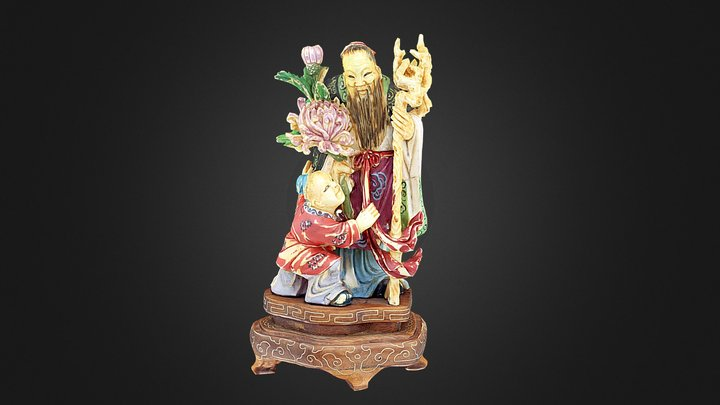 Chinese poly-chrome Ivory Figure. 3D Model