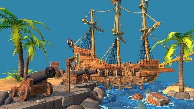 Caribbean Scene 3D Model