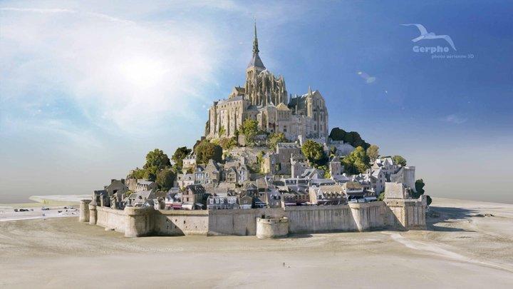 Mont Saint Michel, 1km above 3D Model