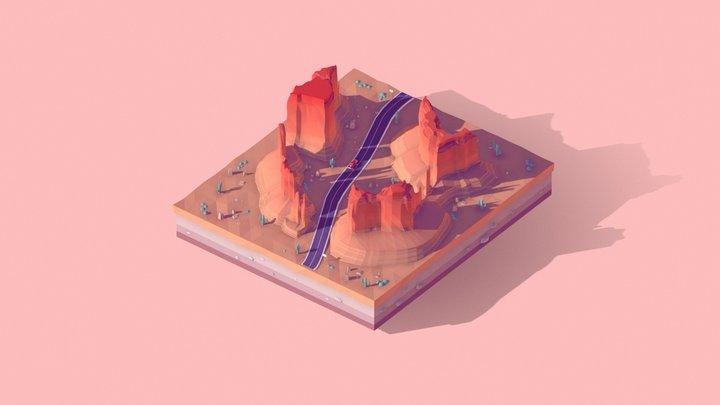 Cartoon Lowpoly Monument Valley Landmark 3D Model