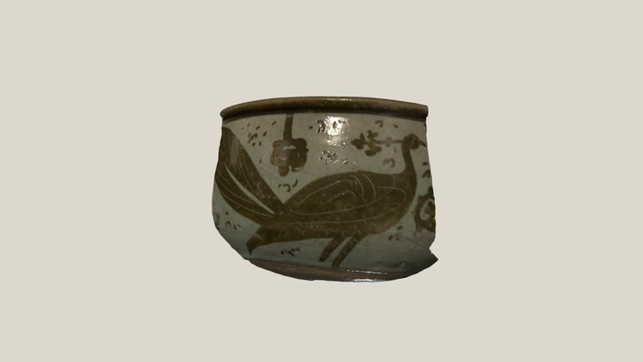 Luster bowl sherd with peacock 3D Model
