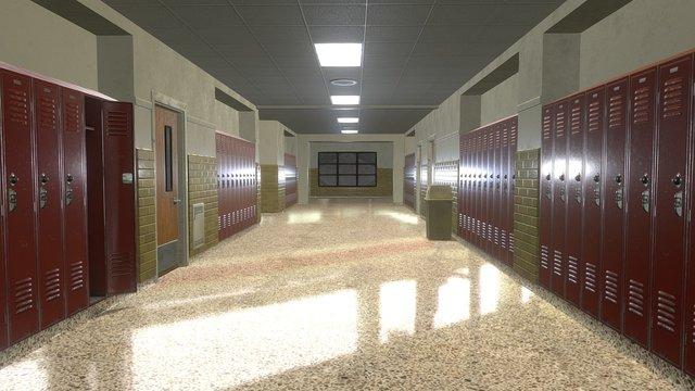 School Hallway 3D Model