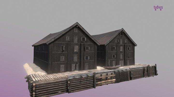 Sjøbodene i Christiania 1798 3D Model