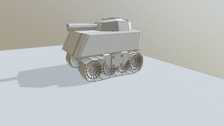 Low poly Cartoon Tank 3D Model