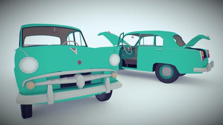 Flat Colored Old Car 3D Model