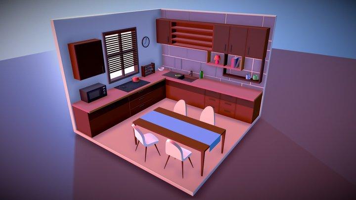 Lowpoly Kitchen (WIP) 3D Model