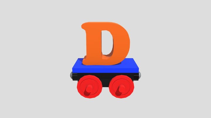 Wagon with Letter D 3D Model