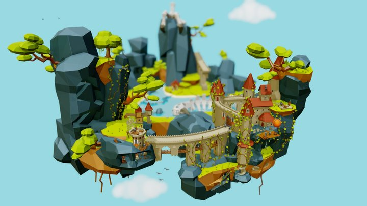Flying world - Castle Crow's Claw 3D Model