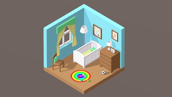 Isometric Baby Room (Daytime) 3D Model