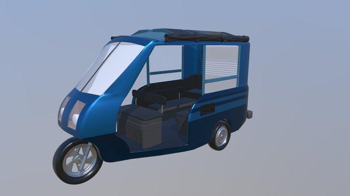 Solar-Powered Rickshaw Prototype 3D Model
