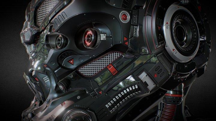 SCI-FI HELMET - RED DEVIL - Jonathan BENAINOUS 3D Model