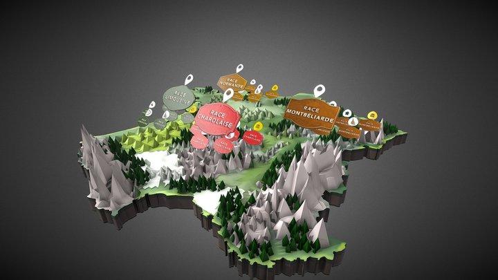 Carte de France 3D - Interactive 3D Model