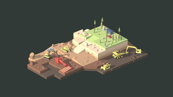 Low Poly Gold Mining 3D Model