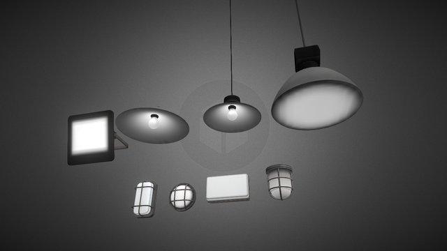 Industrial Lamp Pack 3D Model