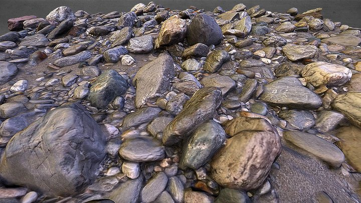 Austrian Cobble River Bed 3D Model
