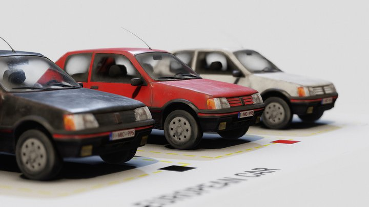 Low poly 80'-90's European Car - Store pack 3D Model